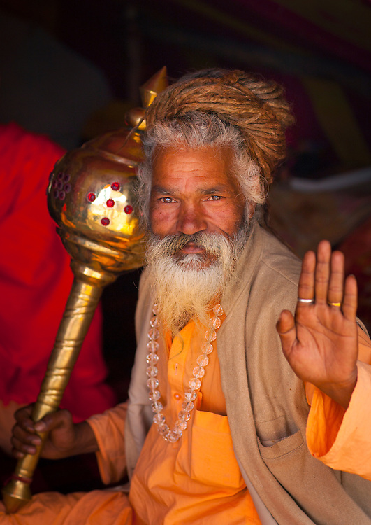 Sadhu in Juna Akhara. Maha Kumbh Mela festival, world's largest congregation of religious pilgrims. Allahabad, India.