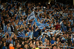 MANCHESTER, ENGLAND - Monday, April 30, 2012: Manchester City supporters celebrate after their side's 1-0 victory over Manchester United during the Premiership match at the City of Manchester Stadium. (Pic by David Rawcliffe/Propaganda)