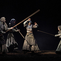 """Picture shows : Cath Whitefield as Tottie (centre) Wendy Seager as Sara (far left), Charlene Boyd as Jenny  and Pauline Lockhart as  Maggie (far right).<br /> Bondagers <br /> By Sue Glover<br /> Directed by Lu Kemp<br /> """"Redd up the stables, muck out the byre, plant the tatties, howk the tatties, clamp the tatties... Shear, stook, striddle, stack. Women's work.""""<br /> A true classic of modern Scottish Theatre, and a haunting evocation of a lost way of life, Sue Glover's lyrical play with music and song follows six women land workers as they graft and dance their way through a year on a 19th Century Borders farm.<br /> Every ploughman had to provide a woman (a bondager) to work on the farm. If his wife was too busy with family, he hired a woman to work the fields and lodge in his home. Following these womenthrough the passing of the seasons, we feel the rhythm of the land and the harshness, humour, hope and tragedy of those who worked upon it.<br /> Picture : Drew Farrell<br /> Tel : 07721 -735041<br /> www.drewfarrell.com<br /> <br /> <br /> For Further information please contact Michelle Mangan Press and PR Manager, Royal Lyceum Theatre Edinburgh <br /> Main Line: 0131 248 4800