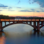 A bridge over Town Lake in Austin, Texas, just after sunset. High resolution panorama