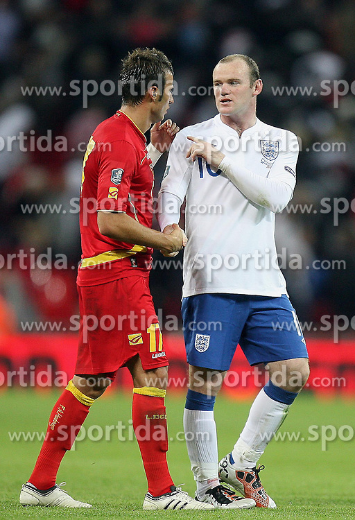12.10.2010, Wembley Stadium, London, ENG, UEFA 2012 Qualifier, England vs Montenegro, im Bild Wayne Rooney of England and Elsad Zverotic of Montenegro, EXPA Pictures © 2010, PhotoCredit: EXPA/ IPS/ Marcello Pozzetti *** ATTENTION *** UK AND FRANCE OUT!