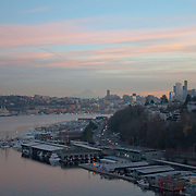 The Lake Union Waterfront, Seattle, and Mount Rainier.  Photo by William Byrne Drumm.