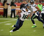 Nov 26, 2017; Santa Clara, CA, USA; Seattle Seahawks wide receiver Tyler Lockett (16) in the first quarter against the San Francisco 49ers at Levi's Stadium.  Seattle beat San Francisco 24-13.