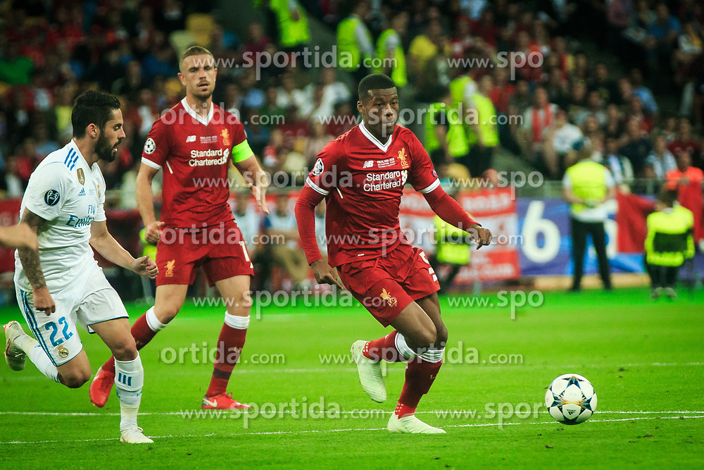 Isco of Real Madrid vs Georginio Wijnaldum of Liverpool during the UEFA Champions League final football match between Liverpool and Real Madrid at the Olympic Stadium in Kiev, Ukraine on May 26, 2018.Photo by Sandi Fiser / Sportida