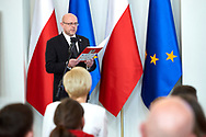 Warsaw, Poland - 2017 March 31: Grzegorz Kurkowski (Special Olympics Poland) speaks while Meeting Special Olympics athletes with the First Lady Agata Kornhauser-Duda at Polish President's Palace on March 31, 2017 in Warsaw, Poland.<br /> <br /> Mandatory credit:<br /> Photo by © Adam Nurkiewicz / Mediasport<br /> <br /> Adam Nurkiewicz declares that he has no rights to the image of people at the photographs of his authorship.<br /> <br /> Picture also available in RAW (NEF) or TIFF format on special request.<br /> <br /> Any editorial, commercial or promotional use requires written permission from the author of image.<br /> <br /> Image can be used in the press when the method of use and the signature does not hurt people on the picture.