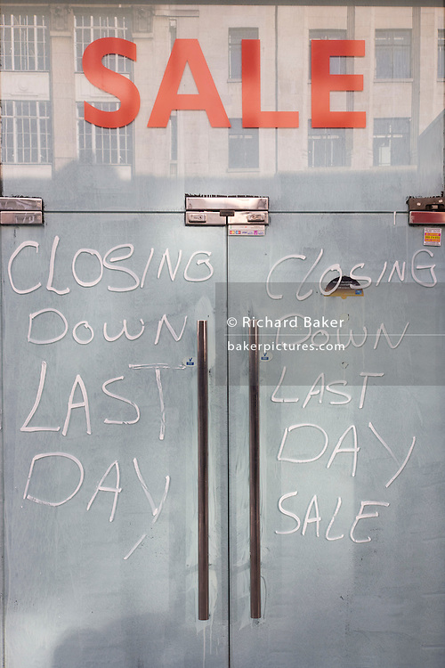 A closed business in Central London, a victim of the UK recession.