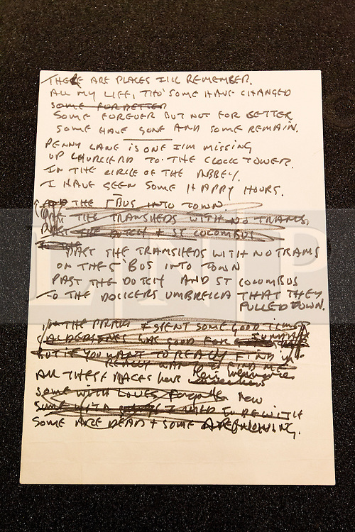 """© Licensed to London News Pictures. 22/05/2013. London, UK. The original lyrics to the Beatles song 'In My Life' written on notepaper are seen after being presented to the British Library by Beatles biographer Hunter Davies in London today (22/05/2013). The manuscript, along with others and correspondence between John Lennon and Mr Davies, have been donated to the library under the """"lifetime giving"""" scheme. Photo credit: Matt Cetti-Roberts/LNPPhoto credit: Matt Cetti-Roberts/LNP"""