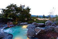The outdoor spa has views of the Columbia River Gorge at Skamania Lodge located in Washington's Columbia River Gorge