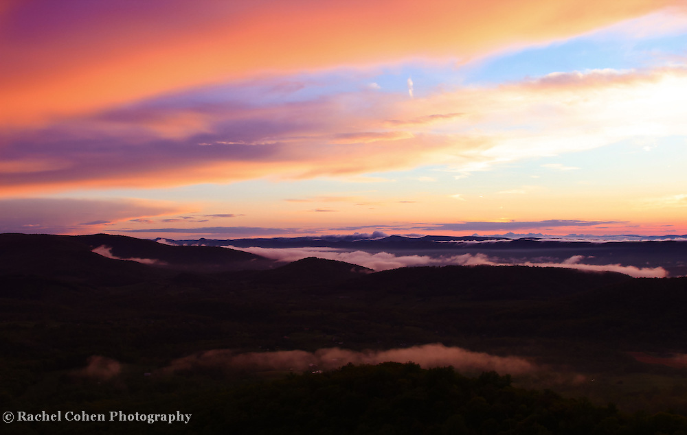 &quot;Serenity of Maghreb&quot;<br /> <br /> Beautiful clouds and fog sweep across the top of the Blue Ridge Mountains of Virginia at sunset! The sky filled with lovely pastel hues!!<br /> <br /> The Blue Ridge Mountains by Rachel Cohen