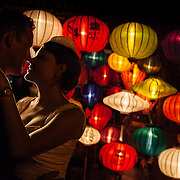 Wedding photography under lanterns in Hoi An, Vietnam.