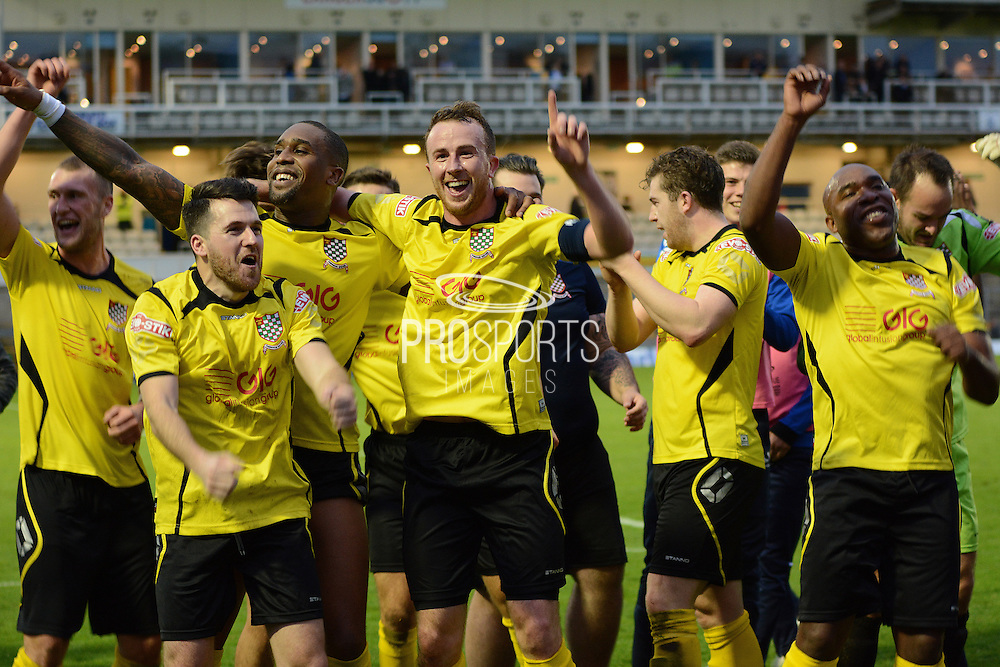 Chesham players celebrate during the The FA Cup match between Bristol Rovers and Chesham FC at the Memorial Stadium, Bristol, England on 8 November 2015. Photo by Alan Franklin.