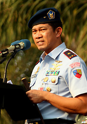 October 5, 2018 - Madiun, East Java, Indonesia - Commander of Air Base Iswahjudi Magetan, First Marshal [Marsma] Indonesian National Army Samsul Rizal when delivering a speech at the same time opened the exhibition of the Main Tool of Armaments Systems in Madiun City Square, September 5, 2018. The defense equipment exhibition was held for three days namely in the 73rd anniversary of the Indonesian National Army (Credit Image: © Ajun Ally/Pacific Press via ZUMA Wire)
