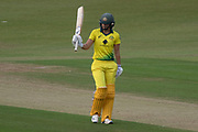 50 - Ellyse Perry acknowledges the crowd on reaching 50 during the Royal London Women's One Day International match between England Women Cricket and Australia at the Fischer County Ground, Grace Road, Leicester, United Kingdom on 4 July 2019.