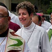 Presiding Bishop Katharine Jefferts Schori of the American Episcopal Church and the first woman elected primate in the Anglican Communion, stands with fellow primates before they process into Anglican cathedral to celebrate the Eucharist. Leaders of the world's 77 million Anglicans, in Tanzania for a closed, six-day conference, traveled by boat from the mainland to celebrate the Eucharist in the only Anglican cathedral on this predominantly Muslim archipelago on the Indian Ocean...