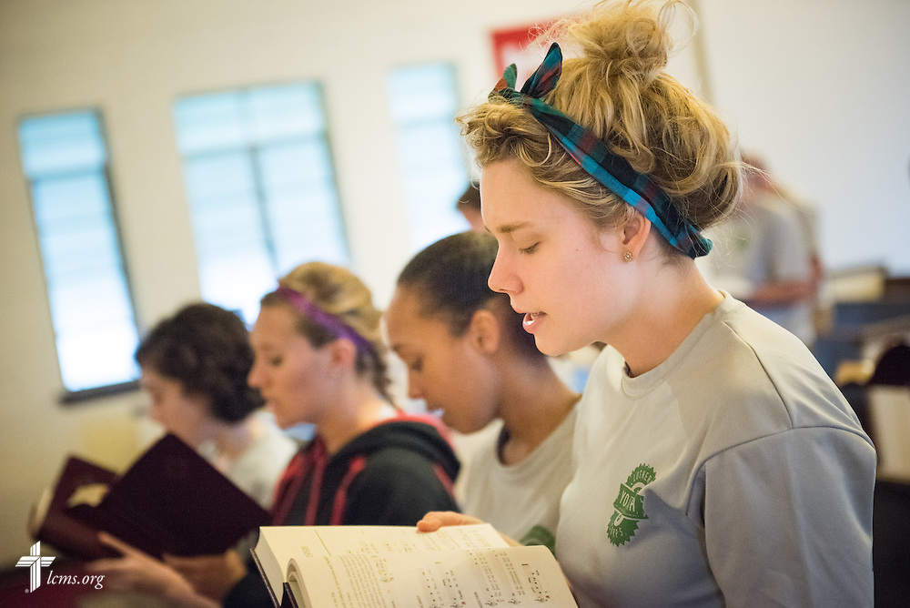 Talitha Elbert (foreground) sings in afternoon worship with other participants during the 2014 Youth Corps pilot project at Shepherd of the City Lutheran Church on Tuesday, August 12, 2014, in Philadelphia, Pa. LCMS Communications/Erik M. Lunsford