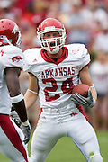 Arkansas Razorbacks special teams player John Aaron Rees celebrates after recovering a blocked punt during a 24 to 13 loss to the Alabama Crimson Tide on September 24, 2005 at Bryant-Denny Stadium in Tuscaloosa, Alabama..Mandatory Credit: Wesley Hitt/Icon SMI