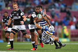 Sibusiso Sithole of the Sharks hands off Cheslin Kolbe of Western Province during the Currie Cup Premier Division match between the DHL Western Province and the Sharks held at the DHL Newlands Rugby Stadium in Cape Town, South Africa on the 3rd September  2016<br /> <br /> Photo by: Shaun Roy / RealTime Images