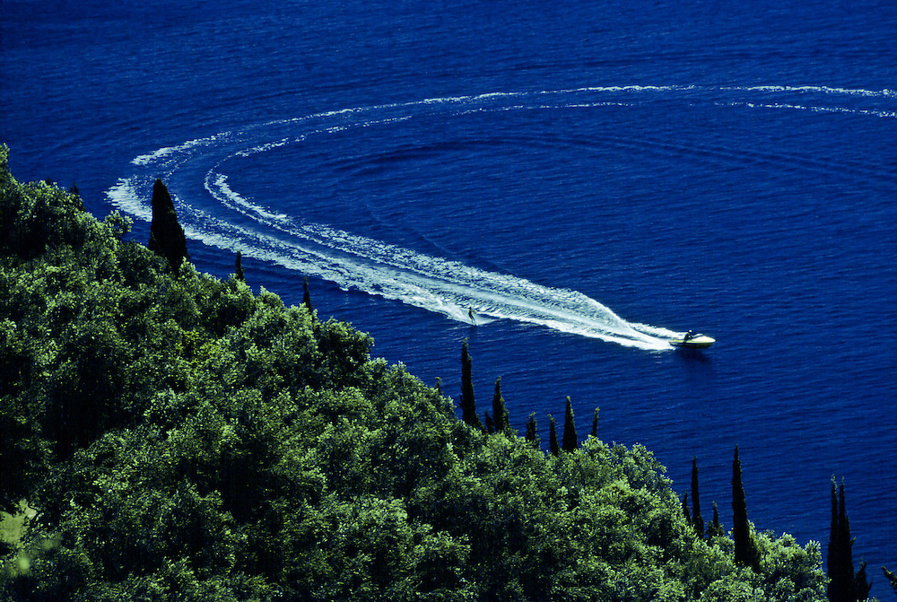 Speedboat making a wake trail, Mediterranean Sea, Corfu, Greece RESERVED USE - NOT FOR DOWNLOAD -  FOR USE CONTACT TIM GRAHAM