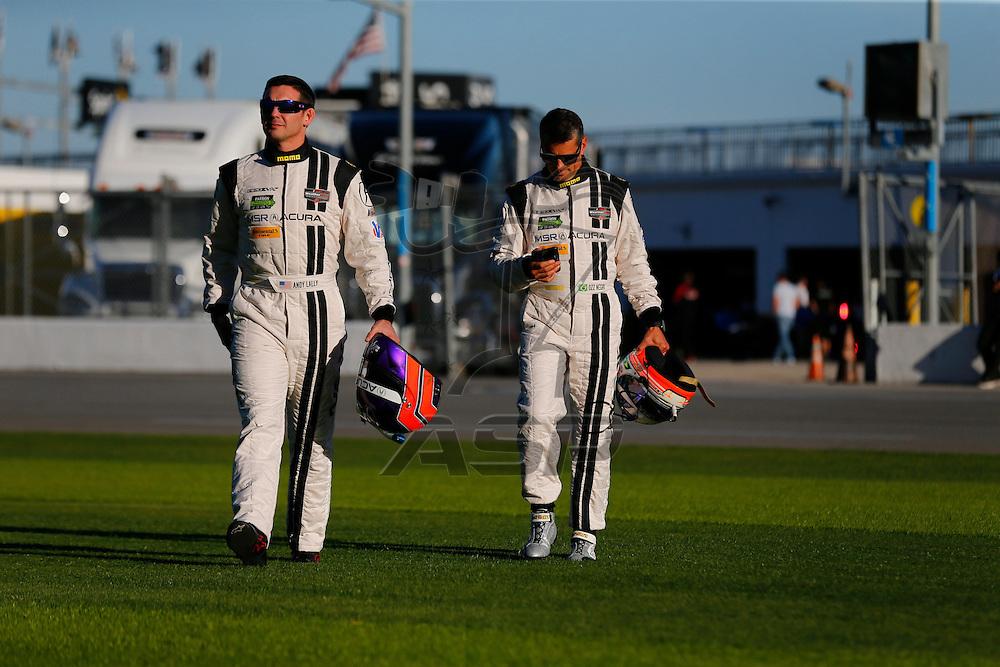 January 05, 2017 - Daytona Beach, Florida, USA:  IMSA drivers, Ryan Dayziel, Lawson Aschenbach, Andy Lally, Ozz Negri, and Joao Barbosa, pose for pictures before the start of the Roar Before The Rolex 24 at Daytona International Speedway in Daytona Beach, Florida.