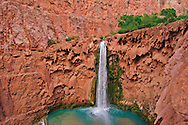 Arizona, Supai, Havasupai Nation. Mooney Falls, Reservation, Grand Canyon region, Havasu Canyon, Havasu River tributary of Colorado River