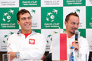 (L) Jerzy Janowicz of Poland & (R) Radoslaw Szymanik - captain Polish national team while press conference three days before the BNP Paribas Davis Cup 2013 between Poland and Australia at Torwar Hall in Warsaw on September 10, 2013.<br /> <br /> Poland, Warsaw, September 10, 2013<br /> <br /> Picture also available in RAW (NEF) or TIFF format on special request.<br /> <br /> For editorial use only. Any commercial or promotional use requires permission.<br /> <br /> Photo by © Adam Nurkiewicz / Mediasport