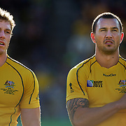 David Pocock and Quade Cooper, (right), Australia, during the teams national anthems before the South Africa V Australia Quarter Final match at the IRB Rugby World Cup tournament. Wellington Regional Stadium, Wellington, New Zealand, 9th October 2011. Photo Tim Clayton...