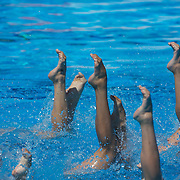 The French team during the Synchronised swimming team event at the World Swimming Championships in Rome on Saturday, July 25, 2009. Photo Tim Clayton.