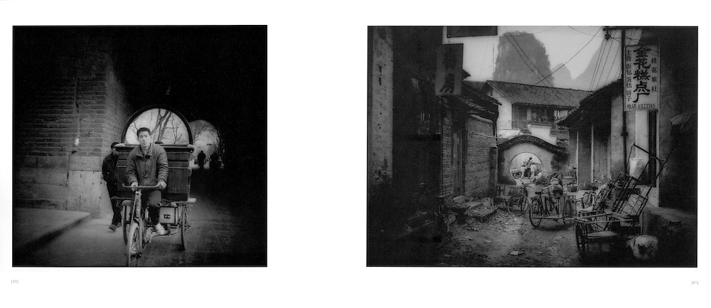 L:  Transporting a mirror.  Xi'an, Shaanxi Province, China.  1996..R:  Cluttered alleyway.  Yangshuo, Guangxi Province, China.  1998