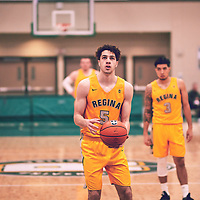 1st year forward, Nick Barnard (5) of the Regina Cougars during the Men's Basketball Home Game on Fri Feb 01 at Centre for Kinesiology,Health and Sport. Credit: Arthur Ward/Arthur Images