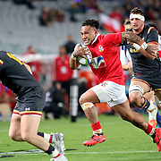 Tonga broke through rarely in the first half versus Wales 15's at Eden Park, Auckland, New Zealand