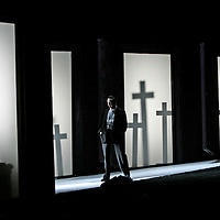 Scottish Opera's  brand new production of Don Giovanni by Mozart, conducted by Richard Armstrong, Directed by Tim Albery. Designer Tobias Hoheisel. Lighting Peter Mumford, Choreographer Ben Wright...Pictured Peter Savidge as Don Giovanni (right) and Matthew Best as the Commendatore (Silhouette)...The Cast Peter Savidge, sings the title role, with James Rutherford (Leporello), Maria Constanza Nocentini (Donna Anna), Matthew Best (Commendatore), Hilton Marlton (Don Ottavio), Henriikka Gr?ndahl (Donna Elvira), Caitlin Hulcup (Zerlina) and DÕArcy Bleiker (Masetto). ..Opening night  Thursday 4th May 2006 at The Theatre Royal Glasgow. Six further performances in Glasgow during may and June, before 4 performances at The Festival Theatre, Edinburgh beginning 14th June 2006...Picture Drew Farrell/Lebrecht. Note to Editors. Payment required at all times...