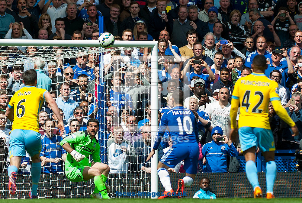Chelsea midfielder Eden Hazard [10] scores a goal from rebound of his own penalty during the Barclays Premier League match at Stamford Bridge, London<br /> Picture by Jack Megaw/Focus Images Ltd +44 7481 764811<br /> 03/05/2015