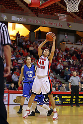 19 January 2008: Ashleen Bracey gets an open shot at the hoop.  Both the Indiana State Sycamores and the Illinois State Redbirds came to this game tied for 1st place and defeated in the Missouri Valley Conference.  The Redbirds in their 11th consecutive game 77-70 on Doug Collins Court inside Redbird Arena in Normal Illinois