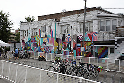 11 July 2015:  colorful murals are painted on the sides of some of the classic buildings in Uptown Normal.  Shot during the 2015 Sugar Creek Arts Festival in Uptown Normal Illinois