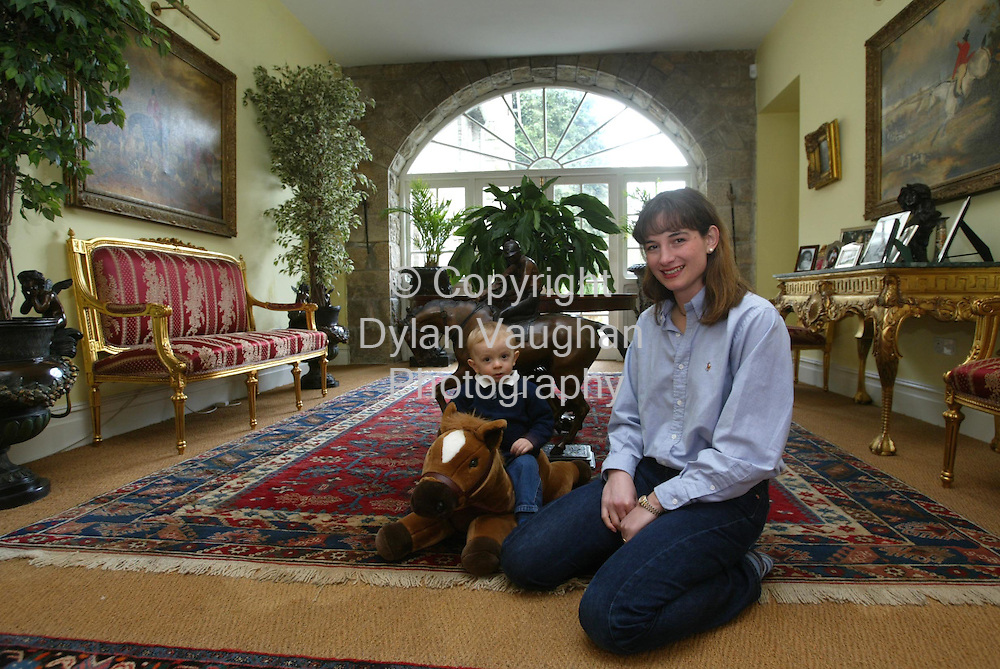 2/4/2002 .Sunday Times Property.Heidi Day and her son Lawson pictured in the entrance hall at Mount Loftus in Kilkenny..Picture Dylan Vaughan