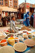 MOROCCO, MARRAKECH Medina; open air spice market