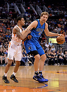 Apr 9, 2017; Phoenix, AZ, USA; Phoenix Suns guard Tyler Ulis (8) guards Dallas Mavericks forward Dirk Nowitzki (41) in the first half of the NBA game at Talking Stick Resort Arena. Mandatory Credit: Jennifer Stewart-USA TODAY Sports
