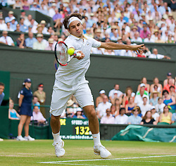 LONDON, ENGLAND - Monday, June 29, 2009: Roger Federer (SUI) during the Gentlemen's Singles 4th Round match on day seven of the Wimbledon Lawn Tennis Championships at the All England Lawn Tennis and Croquet Club. (Pic by David Rawcliffe/Propaganda)