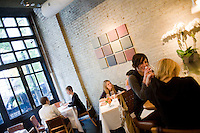8 October, 2008. New York, NY. Customers have lunch at the Veritas Restaurant  in the Flatiron district, NYC.<br /> <br /> ©2008 Gianni Cipriano for The New York Times<br /> cell. +1 646 465 2168 (USA)<br /> cell. +1 328 567 7923 (Italy)<br /> gianni@giannicipriano.com<br /> www.giannicipriano.com