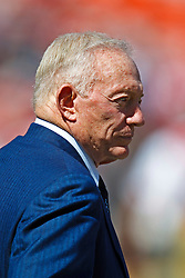 September 18, 2011; San Francisco, CA, USA;  Dallas Cowboys owner Jerry Jones on the sidelines before the game against the San Francisco 49ers at Candlestick Park.  Dallas defeated San Francisco 27-24 in overtime.