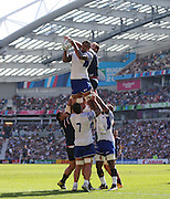 Samoa Teofilo Paulo claims the ball at the line out during the Rugby World Cup 2015 match between Samoa and USA at the Brighton Community Stadium, Falmer, United Kingdom on 20 September 2015.