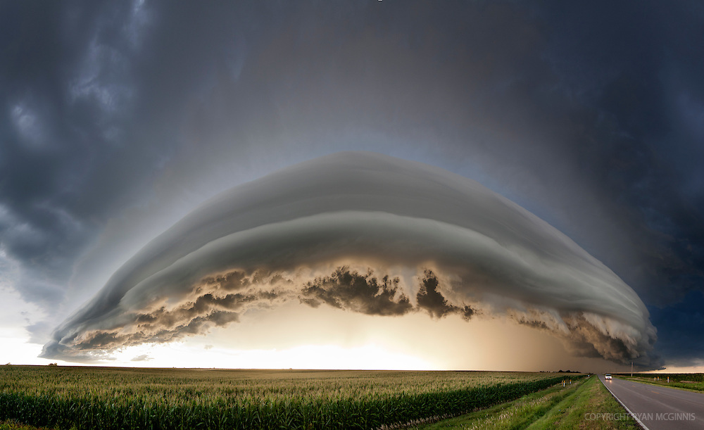 Multi-photo panorama of an arcus cloud pushes across the highway north of Kearney, Nebraska, August 8, 2011.
