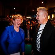 NLD/Rotterdam/20130209 - De Franse modeontwerper Jean Paul Gaultier opent zijn tentoonstelling in de Kunsthal Rotterdam, Jean Paul Gaultier en wethouder Alexandra C. van Huffelen