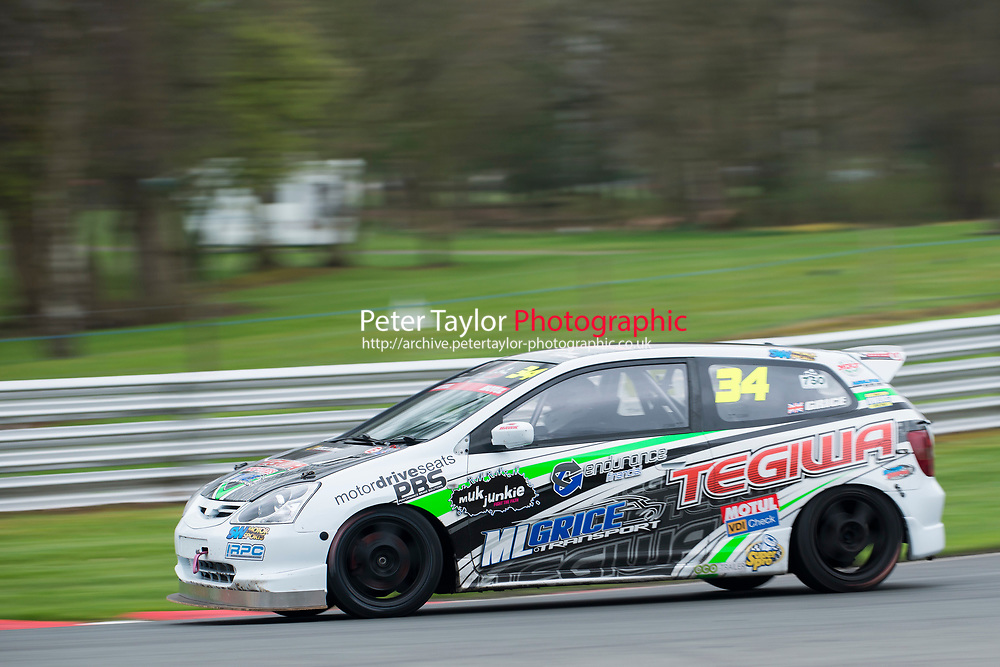 #34 Mark Grice Honda Civic  during Tegiwa Civic Cup as part of the 750 Motor Club at Oulton Park, Little Budworth, Cheshire, United Kingdom. April 01 2017. World Copyright Peter Taylor/PSP. Copy of publication required for printed pictures.  Every used picture is fee-liable. http://archive.petertaylor-photographic.co.uk