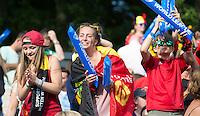 ANTWERP -   Supporters of Belgium during  the final Australia vs Belgium (1-0). left  WSP COPYRIGHT KOEN SUYK