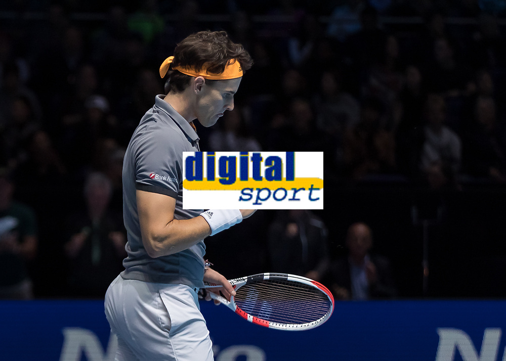 Tennis - 2019 Nitto ATP Finals at The O2 - Day One<br /> <br /> Singles Group Bjorn Borg: Roger Federer (Switzerland) vs. Dominic Thiem (Austria)<br /> <br /> Dominic Thiem (Austria) allows himself a fist pump as he closes in on beating Roger Federer (Switzerland) <br /> <br /> COLORSPORT/DANIEL BEARHAM