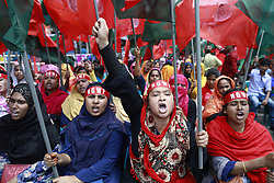 May 1, 2019 - Dhaka, Dhaka, Bangladesh - Bangladeshi garments workers and activists shout slogan as they take part in a rally to celebrate the May day in Dhaka, Bangladesh, May 01, 2019. (Credit Image: © Suvra Kanti Das/ZUMA Wire)