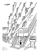 (soldiers scaling a cliff beside a cliff railway)