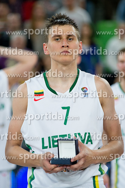 Edgaras Ulanovas of Lithuania during basketball match between National teams of Lithuania and France in Final match of U20 Men European Championship Slovenia 2012, on July 22, 2012 in SRC Stozice, Ljubljana, Slovenia. Lithuania defeated France 50:49. (Photo by Matic Klansek Velej / Sportida.com)