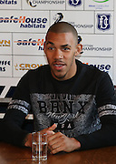New Dundee forward Phil Roberts is introduced to the press at Dens Park<br />